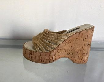 90s Platform Wedge Sandals 6.5