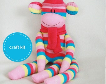 Stuffed toys, Sock Monkey Craft  Kit - Pink Blue and Cream Stripes, Toy Pattern