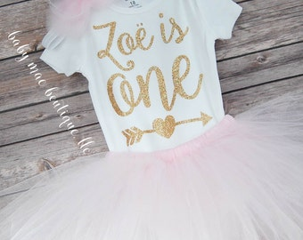First Birthday Outfit Girl / One Birthday Tutu Outfit / baby girl 'one' tutu outfit / bodysuit & tutu for first birthday