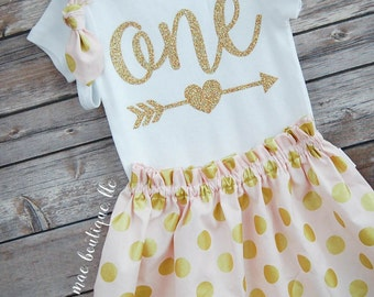 One Birthday Outfit; baby girl gold glitter and confection dot 'one' outfit; bodysuit and skirt for first birthday