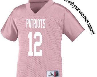 Customized PINK Football Jersey in 2t/3t or 4t Boys or Girls TODDLER Sizes Personalized with Your Choice of Name and Number!