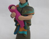 Mother and baby, Art Doll,  Figurines, Polymer Clay, Collectable,