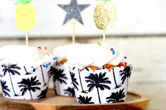 Palm Tree Cupcake Wrappers - Featuring black and white beach palms