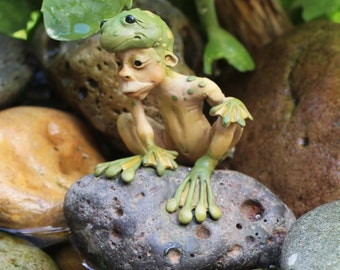 OOAK elf sculpture polymer clay art doll frog boy