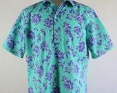 70s Aloha Shirt / Malia Hawaiian Shirt /Tropical Shirt / Casual Dress Shirt / Light Green Shirt / Vintage / Mens / Size Large / GOGOVINTAGE