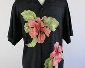 SALE - Vintage Tommy Bahama Silk Tropical Floral Casual Dress Shirt - Mens Size Large