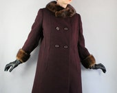 Vintage 1950s 50s Women's Plum Dark Merlot Purple Mink Collar Long Dress Formal Heavy Weight Winter Coat