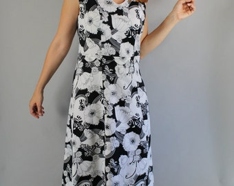 Vintage 60s 70s Women's Black White Mod Psychedelic Floral Sleeveless Summer Maxi Casual Bold Party Dress