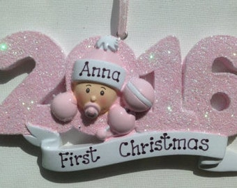 Personalized Baby's First Christmas Ornament 2016 -  Newborn, Baby Girl, Baby Shower Gift / Favor- Free Personalization