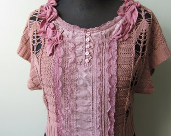 Dusty Pink Short Sleeve Ruffle Sweater, Upcycled Recycled Sweaters, Tattered Shabby Chic Clothing, Mori Girl Tops, Pink Jumper Pullover