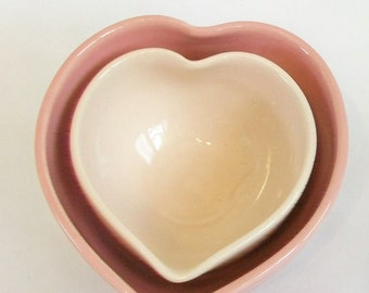 Nesting Heart Bowls -  Shades of pink - Set of 2, Handmade - Ready to Ship- Actual Set - 3.75 in. #12