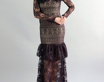 Women's Constance Black Lace Gown-Size Small