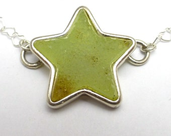 Druzy Crystal Green Star Necklace in Sterling Silver Handmade by Lisajoy Sachs One of a Kind Design Heart chain 18 inches long