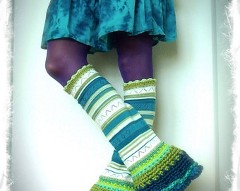 Flared Green PIXIE leg warmers Striped Boho sweater Leg Warmer Scalloped Bell Bottoms eco friendly leg wear Teal Womens fashion GPyoga