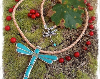 Turquoise DRAGONFLY Necklace Sterling silver Boho Leather necklace Animal Totem neck piece Gypsy Native Cowgirl womens  jewelry GPyoga