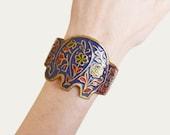 Vintage 60s 70s Cuff Bracelet Brass Boho Floral Enamel Elephant