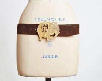 Vintage 70s SUEDE Elephant Belt / 1970s Boho Brown Wide Gold Buckle Belt