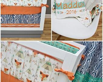 Woodland Nursery Fox Set Crib Bedding Teepee Cribset Arrow