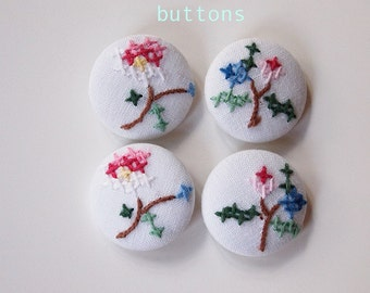 Fabric Covered Buttons Cross Stitched set of 4 Size 1 inch (28mm) Re Purposed Fabric