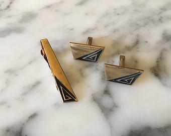 Mens Art Deco Tie Clip Cuff Links Set . Anson 12 K Glod Filled Jewelry