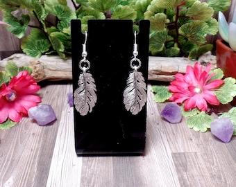 Silver Feather Earrings - Boho Earrings