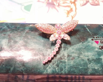 Glittering Crystal Rhinestone Dragonfly Brooch Pin Signed Vintage Jewelry