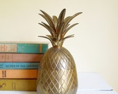 """Vintage Brass Pineapple Box, Candle Holder,Ice bucket, Container, Medium 9"""" Size"""