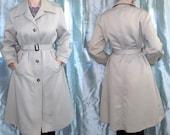 70s London Fog Trench, Maincoats, Womens Long Tan Trenchcoat Jacket, Chic Winter Coat, Medium (12 Petite)