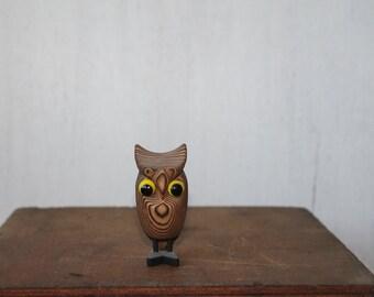 Vintage Handcarved Wooden Owl, Made in Japan