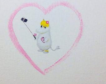 Snork Maiden with Selfie Stick - Original Painting. Day 137. Art by Lilly Piri. Moomin. Moomins. Mumin.