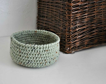 Small Rustic Green Basket  Catchall Storage Bin Modern Decor Contemporary Design Dorm Decor Back to School Custom Colors
