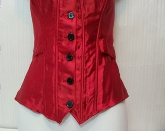 Red Satin Fredricks of Hollywood Corset, Sexy Red Corset, Womens Size Medium Corset, Costume Type Corset, Laced Corset, Black and red corset