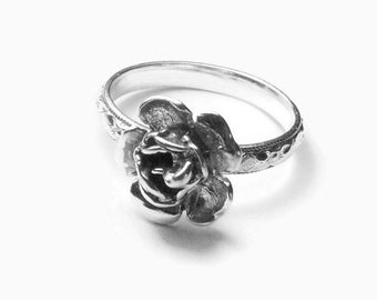 Sterling silver rose ring, Flower ring