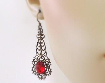 Vintage Earrings - Art Nouveau Jewelry - Ruby Earrings - Red Earrings - handmade jewelry