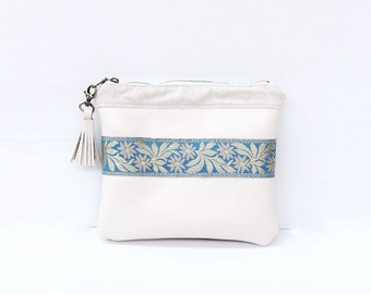 Lily Clutch, Ivory White Leather Clutch Handbag, Evening Bag, Gift for Her, Blue Satin Ribbon