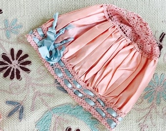 Vintage pink satin lace bonnet/Ribbonwork/Crochet lace/baby blue ribbon