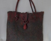 Hand Felted Tote Bag, Red and Green