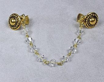 Gold Sweater Clip - Sweater Clip - Swarovski Crystal Sweater Clip - Gold Cardigan Clip - Collar Clip - Gold Collar Clip