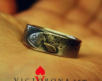 Trout Fish. Example of Custom order ring for a man. One-of-a-kind design for him. Artisan & rustic. Custom text. Sterling silver and brass