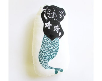 Merpug plush. Hand woodblock printed. Choose any colors. Made to order.