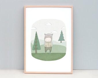 Medium to Large Nursery Art,  Animal Art For Boys Room, Whimsical Nursery Art, Boys Bedroom Art, Boys Wall Art, Poster Boys Room, Boy Bear
