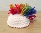 Zombie Unicorn Hat, Crochet MIni-Hat, Tiny Unicorn Hat, Crochet Hat for Zombies and Smile Stress Balls, Stuffed Animal Accessory