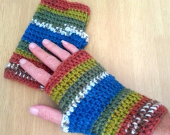 Multi-Color Fingerless Gloves, Crochet Wrist Warmers, Striped Texting Gloves