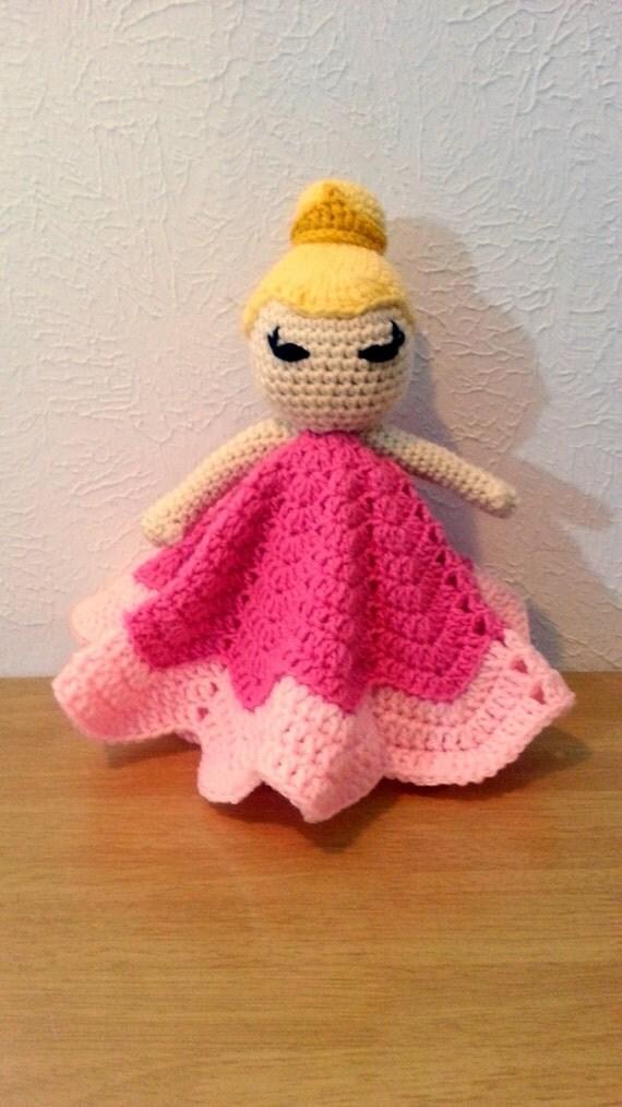 Princess Lovey Crochet Blanket, Pink Princess Blanket Buddy for Girls, Baby Blanket