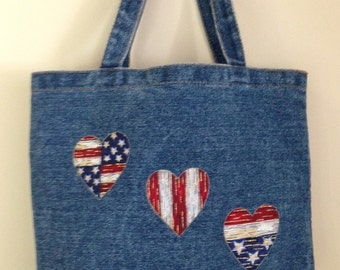 Embellished Denim Bag*Patriotic Hearts*One-of-a-kind