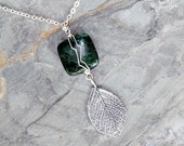Wire Wrapped Leaf Necklace, Stone Necklace, Green Necklace, Jasper Necklace, Wire Wrapped Necklace, Spring Necklace, Mother's Day Necklace