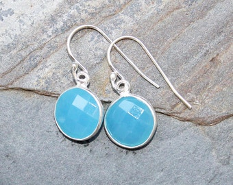 Blue Agate Earrings, Gemstone Earrings, Blue Earrings, Sterling Silver Earrings, Modern Earrings, Blue Agate Jewelry, Handmade Earrings