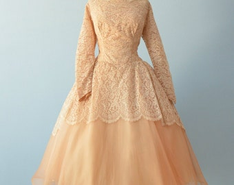 Vintage 1950s Wedding Dress...French Tea Length Golden Cinnamon Lace and Organza Wedding Dress