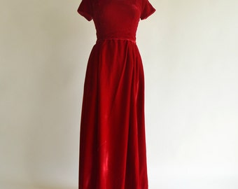 Vintage 1960s Evening Gown...Darling Christmas Red Velvet Evening Gown Bridesmaid Dress