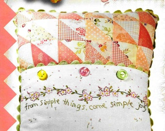 Embroidery Pillow Pattern, Simple Joys of Spring, Spring Decor, Cottage Decor, Crabapple Hill Studio, Quilted Pillow, PATTERN ONLY